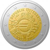 Austrija 2012 Eurų banknotų ir monetų dešimtmetis