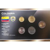 Kolumbija 2003-2008 metų monetų rinkinys lankstinuke
