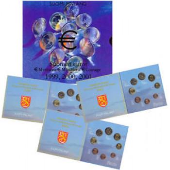 Suomija 1999-2000-2001 Euro monetų BU rinkinys