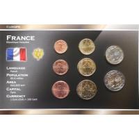 Prancūzija 2000-2012 metų euro monetų rinkinys lankstinuke