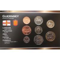 Guernsis 1998-2008 metų monetų rinkinys lankstinuke