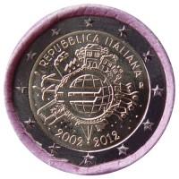 Italija 2012 Eurų banknotų ir monetų dešimtmetis Rulonas