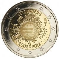 Liuksemburgas 2012 Eurų banknotų ir monetų dešimtmetis