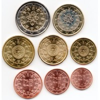 Portugalija 2003-2009 Euro monetų UNC rinkinys skirtingų metų