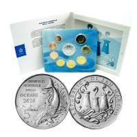 San Marinas 2020 Euro monetų BU rinkinys su sidabrine 5 eurų moneta