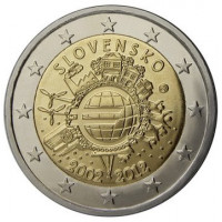 Slovakija 2012 Eurų banknotų ir monetų dešimtmetis