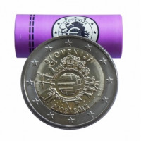 Slovėnija 2012 Eurų banknotų ir monetų dešimtmetis Rulonas