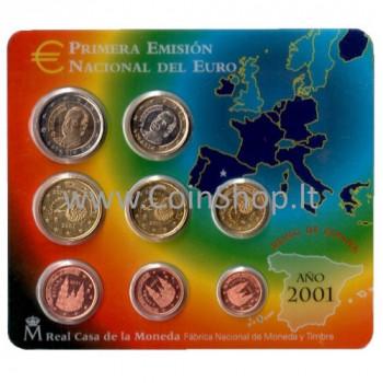 Ispanija 2001 Euro Monetų BU Rinkinys